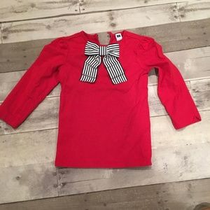 Janie & Jack Red Shirt with Striped Bow